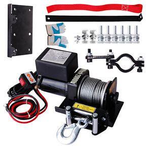 electric recovery winch 2000lb 12v 0 9hp atv utv trailer truck car free gloves ebay