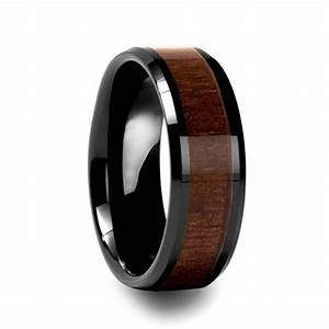 personalized men39s wood inlay tungsten ring evermarker With mens wedding rings wood