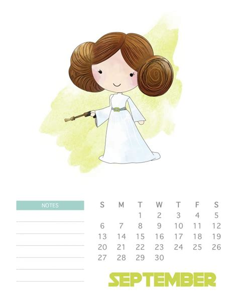 printable  star wars calendar  cottage market