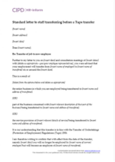 tupe measures letter template managing tupe cipd hr inform