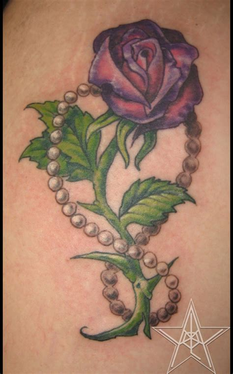 roses  pearls tattoo  feminine touch