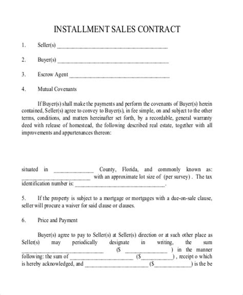 sample installment sales contracts  ms word