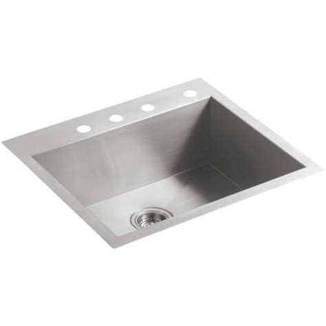 top mount single bowl kitchen sink kohler vault top mount undermount stainless steel 25 in 4 9486