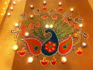 #2017 Happy Diwali Rangoli Designs Peacock Patterns