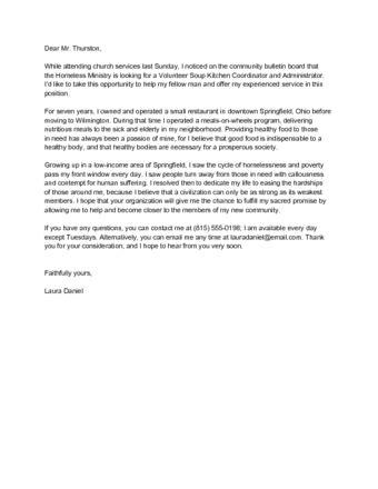 write  letter   volunteer  sample