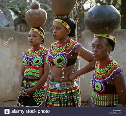 Zulu Traditional Carrying Pots Beaded Young Wearing
