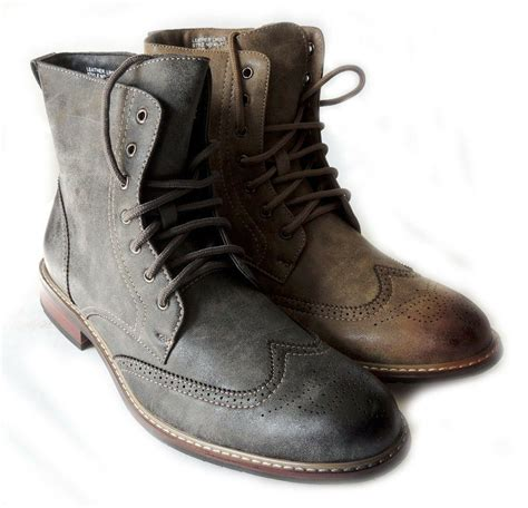 New Men Fashion Wingtip Casual Comfort Ankle Boots Lace