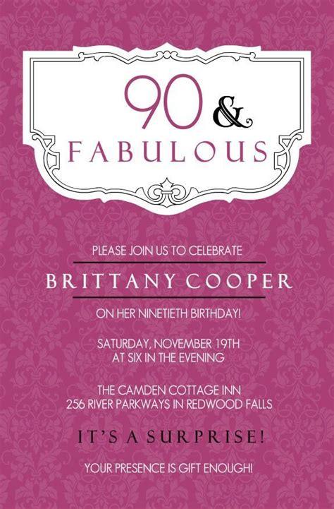 90th Birthday Invitations Birthday party invitation