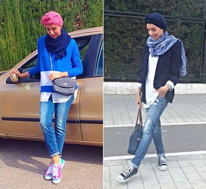 hijab style bergaya modis  sneakers  traveling