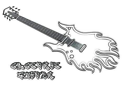 fire electric guitar coloring page  printable