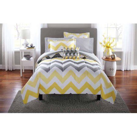 yellow bed comforter mainstays yellow grey chevron bed in a bag bedding
