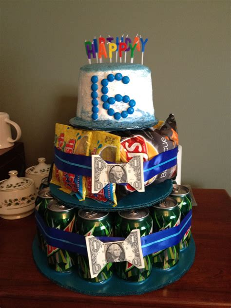 Cut strawberries, blueberries, raspberries, or blackberries make this cake naturally beautiful. Sweet 16 birthday gift for a boy. Mountain Dew soda, chips and candy, dollar bill bow ...