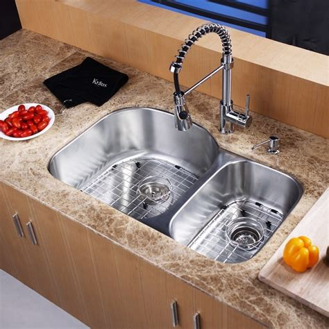 sink placement in kitchen kraus kbu23 kpf1612 ksd30 31inch undermount kitchen sink w 5284
