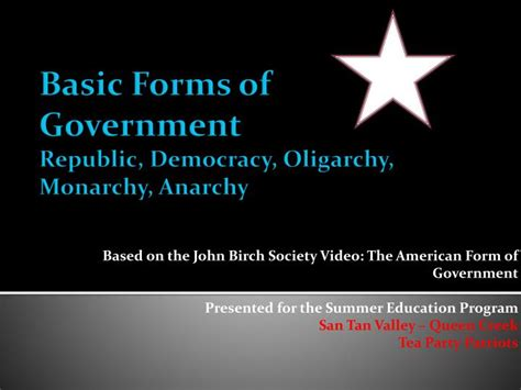 anarchy as a form of government ppt basic forms of government republic democracy