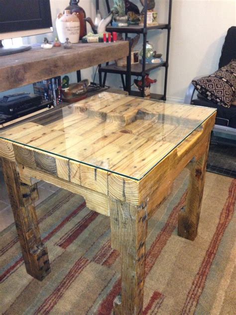 pallet  table glass top wooden pallet table pallet