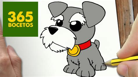 como dibujar perro schnauzer kawaii paso a paso dibujos
