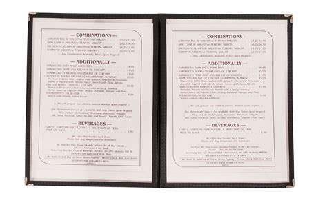Update MCL 2BK 11in x 14in Black Menu Cover Double Fold