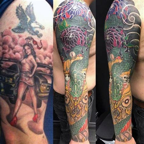 tattoo cover  sleeve design ideas  men manly ink