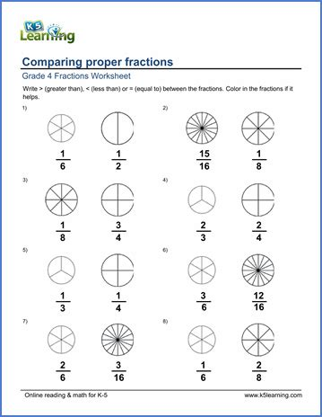 grade  math worksheets comparing proper fractions