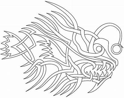 Coloring Tattoo Pages Tribal Fish Angler Heart