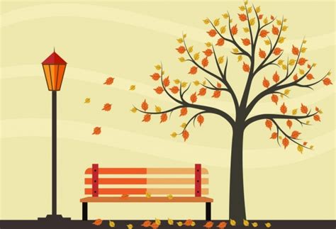autumn park drawing colorful leaves tree bench ornament