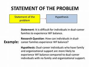 Statement of the problem in feasibility study