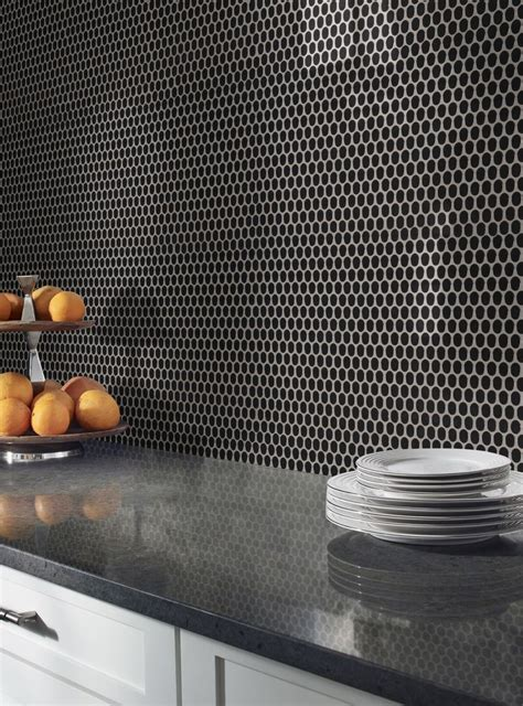 black glossy penny  tiles feature jet black tiles