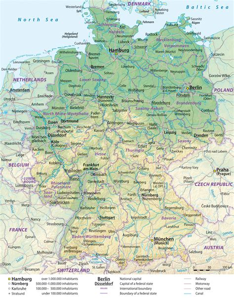 large detailed general  relief map  germany