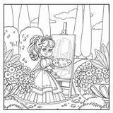 Easel Outlined Staffelei Animados Parken Vacker Skisserade Bilden Prinsessa Bürste Girlish Ritar Topiary Dibuja Caballete Paleta Delineato sketch template