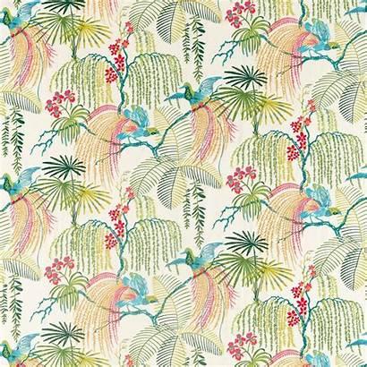 Fabric Sanderson Tropical Fabrics Forest Rain Embroidery