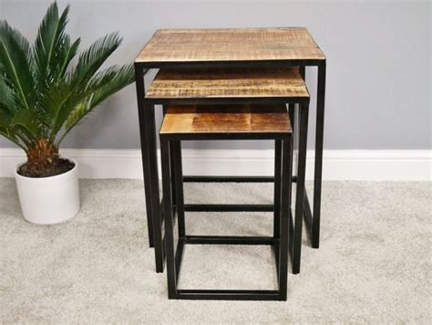 Soho nesting coffee tables pre order loft furniture new zealand. RUSTIC SOLID MANGO WOOD & IRON NEST OF 2 TABLES LAMP SIDE END COFFEE DX5333