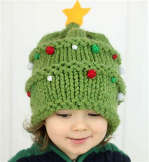knitted christmas tree baby hat pattern allfreeknitting com
