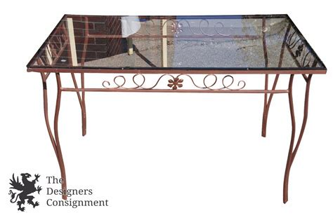 glass table with 4 chairs vintage wrought iron bronzed patio set table four chairs
