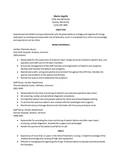 Cardiac Telemetry Nursing Resume by Telemetry Resume Resume Template 2017
