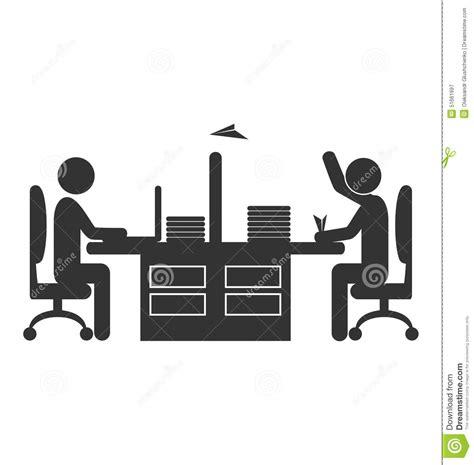 icones bureau travailleur plat d 39 icône de bureau avec l 39 avion de papier
