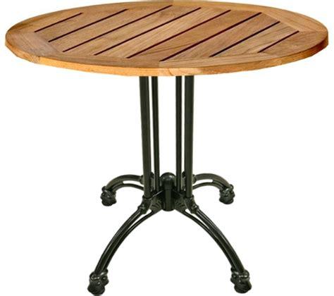 teak patio table w black cast iron base