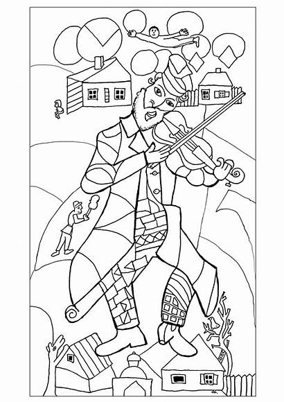 Coloring Chagall Pages Marc Famous Adult Drawing