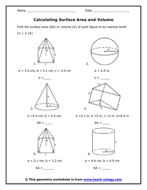 calculating surface area and volume