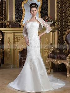 Marjey strapless satin mermaid wedding dress with lace for Wedding dress bolero