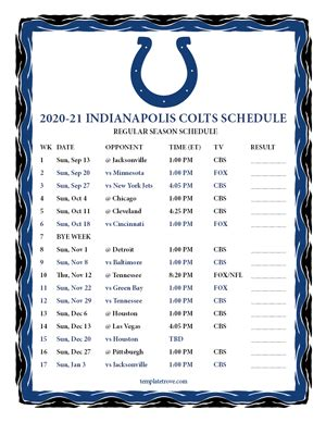 printable   indianapolis colts schedule