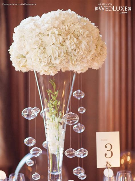 Tall White Wedding Centerpieces With Crystal Hanging