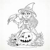 Witch Coloring Halloween Crow Pages Adult Smiling sketch template