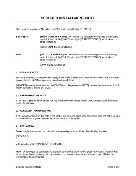 Installment Sale Agreement Template by Secured Installment Note Template Sle Form