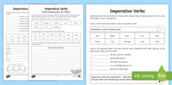 imperative verbs bossy words worksheet imperative verbs