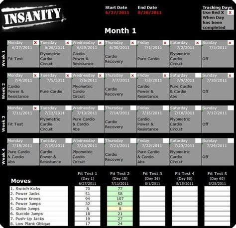 insanity schedule insanity calendar work outs