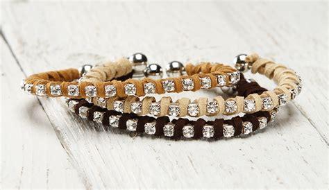 Suede Wrapped Rhinestone Bangle Bracelet