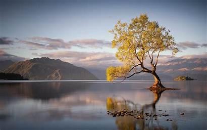 Water Trees Lake Sunrise Reflection Mountain Landscape