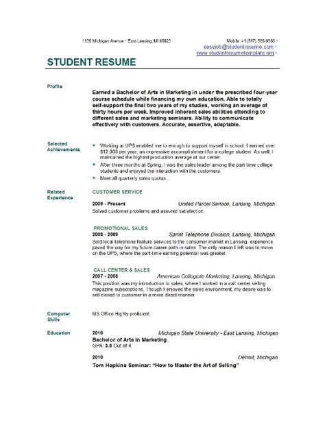 resume examples  college students template business