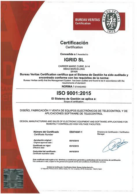 certification bureau veritas iso9001 2015 certification igrid