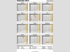 Kalender 2013 mit ExcelPDFWordVorlagen, Feiertagen